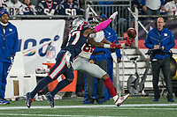 FOXBORO, MA - OCTOBER 10: New York Giants Wide Receiver Darius Slayton (86) misses a pass with New England Patriots Defensive back J.C. Jackson (27) in competition during a game between New York Giants and New England Patriots at Gillettes on October 10, 2019 in Foxboro, Massachusetts.