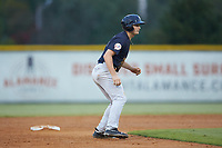Ryder Green (21) of the Pulaski Yankees takes his lead off of second base against the Burlington Royals at Burlington Athletic Stadium on August 25, 2019 in Burlington, North Carolina. The Yankees defeated the Royals 3-0. (Brian Westerholt/Four Seam Images)