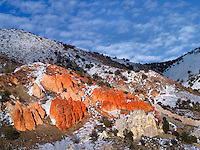 Red rock and snow. Near Susanville, California