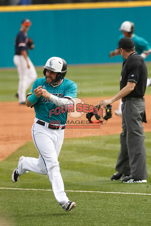 University of Coastal Carolina Chanticleers outfielder Anthony Marks (29) rounding the bases during a game against the University of Virginia Cavaliers at Springs Brooks Stadium on February 21, 2016 in Conway, South Carolina. Coastal Carolina defeated Virginia 5-4. (Robert Gurganus/Four Seam Images)
