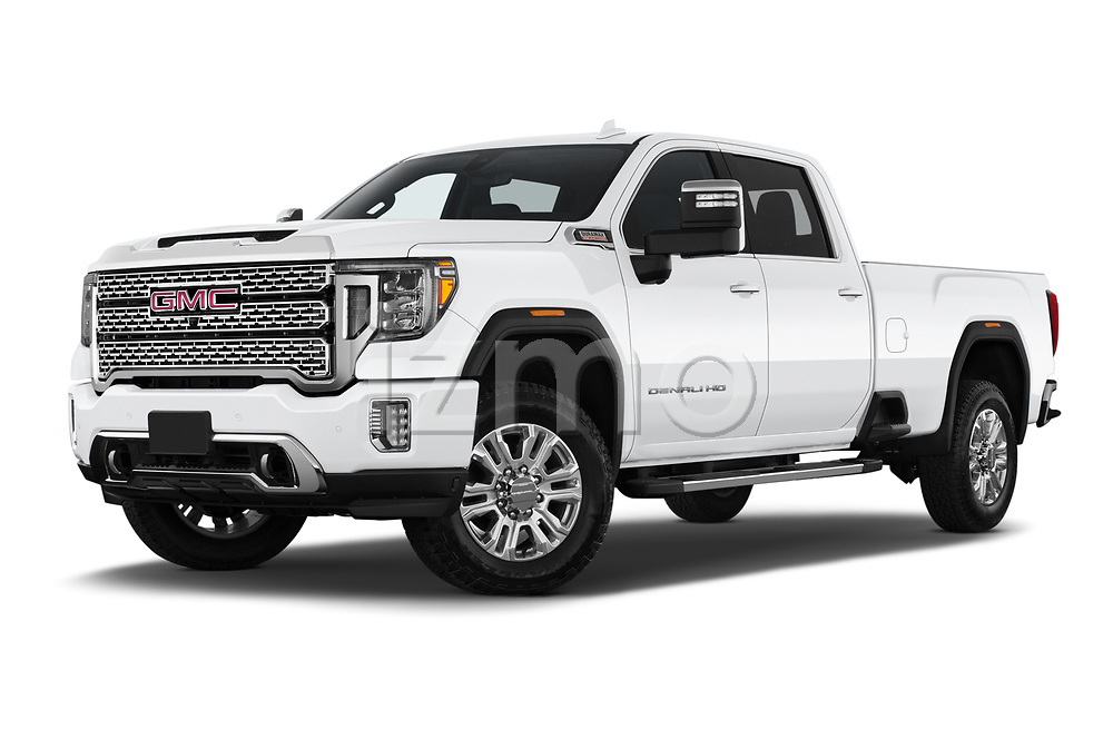 Stock pictures of low aggressive front three quarter view of 2020 GMC Sierra-3500HD Denali 4 Door Pick-up Low Aggressive
