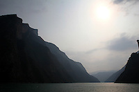 CHINA. Chongqing Province.  A view of the 3 Gorges. The flooding of the three Gorges, by damming the Yangtze near the town of YiChang, has remained a controversial subject due to the negative environmental consequences and the displacement of millions of people in the flood plain. The Yangtze River however is reported to be at its lowest level in 150 years as a result of a country-wide drought. It is China's longest river and the third longest in the world. Originating in Tibet, the river flows for 3,964 miles (6,380km) through central China into the East China Sea at Shanghai.  2008.