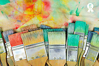 Stack of colorfull paintbrushes on palette (Licence this image exclusively with Getty: http://www.gettyimages.com/detail/106421919 )