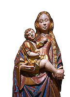 Gothic statue of The Virgin Mary (Madonna) holding the baby Jesus. Polychrome and gold leaf on wood by the Circle of Gil de Siloe around 1500, probably from Castella. Inv MNAC 64028. National Museum of Catalan Art (MNAC), Barcelona, Spain. Against a white background.