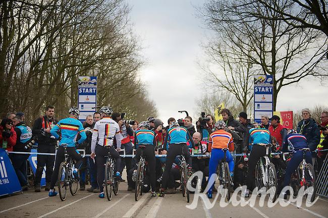 predominantly blue start line <br /> <br /> 2014 UCI cyclo-cross World Championships, Elite Men