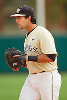 Wake Forest Demon Deacons first baseman Carlos Lopez #3 on defense against the North Carolina State Wolfpack at Doak Field at Dail Park on March 17, 2012 in Raleigh, North Carolina.  The Wolfpack defeated the Demon Deacons 6-2.  (Brian Westerholt/Four Seam Images)