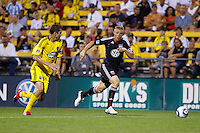 26 JUNE 2010:  Eric Brunner of the Columbus Crew (23) and Daniel Allsopp #9 of DC United  during MLS soccer game between DC United vs Columbus Crew at Crew Stadium in Columbus, Ohio on May 29, 2010. The Crew defeated DC United 2-0.