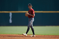 Second baseman Casey Cook (4) of Freedom South Riding HS in Chantilly, VA playing for the Arizona Diamondbacks scout team during the East Coast Pro Showcase at the Hoover Met Complex on August 5, 2020 in Hoover, AL. (Brian Westerholt/Four Seam Images)