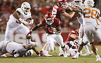 Arkansas running back Raheim Sanders (5) carries the ball, Saturday, September 11, 2021 during the fourth quarter of a football game at Reynolds Razorback Stadium in Fayetteville. Check out nwaonline.com/210912Daily/ for today's photo gallery. <br /> (NWA Democrat-Gazette/Charlie Kaijo)