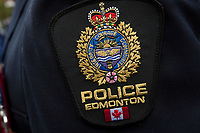 Edmonton Police badge is seen during a police memorial parade in Ottawa Sunday September 26, 2010.