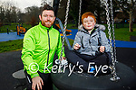 Evan O'Sullivan enjoying the afternoon in the playground with his dad Kenneth in the Tralee town park on Thursday.