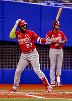 26 March 2018: St. Louis Cardinals outfielder Marcell Ozuna in action during an exhibition game against the Toronto Blue Jays at Olympic Stadium in Montreal, Quebec, Canada. The Cardinals defeated the Blue Jays 5-3 in the first of two MLB pre-season games in the former home of the Montreal Expos. Mandatory Credit: Ed Wolfstein Photo *** RAW (NEF) Image File Available ***
