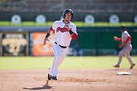 Glendale Desert Dogs right fielder Connor Marabell (4), of the Cleveland Indians organization, runs to third base during an Arizona Fall League game against the Mesa Solar Sox at Camelback Ranch on November 12, 2018 in Glendale, Arizona. Glendale defeated Mesa 4-2. (Zachary Lucy/Four Seam Images)