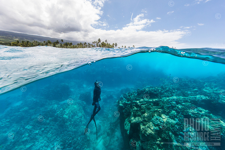 A diver at Two Step dive and snorkeling spot near Pu'uhonua o Honaunau, or City of Refuge, Honaunau Bay, Hawai'i Island.