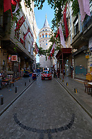 Medieval Galata tower district in Istanbul, Turkey