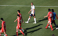 Oguchi Onyewu eyes the competition. The USA defeated China, 4-1, in an international friendly at Spartan Stadium, San Jose, CA on June 2, 2007.