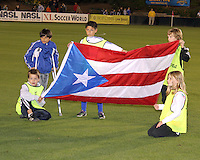 Flag of Puerto Ricos during the second leg of the USSF-D2 championship match against theCarolina Railhawks at WakeMed Soccer Park, in Cary, North Carolina on October 30 2010. The game ended 1-1, Puerto Rico won 3-1 on overall goals.