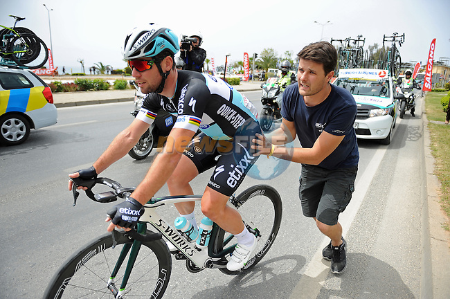 Puncture for Mark Cavendish (GBR) Etixx-Quick Step during Stage 1 of the 2015 Presidential Tour of Turkey running 182km from Alanya to Alanya. 26th April 2015.<br /> Photo: Tour of Turkey/Stiehl Photography/Mario Stiehl/www.newsfile.ie