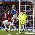 Danny Wilson tries to connect with a Rangers corner kick