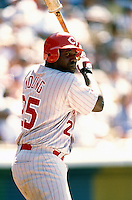 Dmitri Young of the Cincinnati Reds participates in a Major League Baseball game at Dodger Stadium during the 1998 season in Los Angeles, California. (Larry Goren/Four Seam Images)