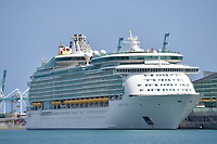 MIAMI BEACH, FL - APRIL 09: COVID-19: As the Cruise ship Mariner of the Seas sits docked at The Port of Miami the U.S. Coast Guard said over 100 cruise ships and 90,000 crew members are still stuck at sea in or near U.S. ports and waters amid coronavirus outbreak on April 09, 2020 in Miami Beach, Florida<br /> <br /> People:  Mariner of the Seas