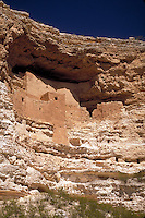 Montezuma Castle National Monument contains the ruins of a five-story cliff dwelling built in the 12th and 13th centuries. It contains 20 rooms, accessible only by ladders, and is believed to have been inhabited by Sinagua Indians. Camp Verde Arizona USA.