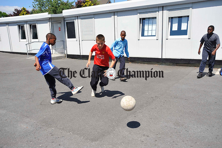 Fifth and sixth class playing soccer at Scoil Criost Ri Cloughleigh. Photograph by John Kelly.