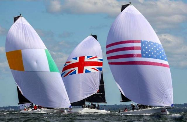 """Anthony O'Leary's Royal Cork team slicing it between the Brits and the Yanks in the NYYC Invitationals 2021. Royal Cork took the Bronze, and O'Leary was the Afloat.ie """"Sailor of the Month"""" for September."""