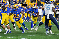 Pitt running back AJ Davis (21). The Pitt Panthers defeated the North Carolina Tarheels 34-27 in overtime in the football game on November 14, 2019 at Heinz Field, Pittsburgh, Pennsylvania.