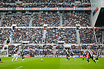 Prominant advertising for Newcastle owner Mike Ashley's company Sports Direct at St James Park. Newcastle v West Ham, August 15th 2021. The first game of the season, and the first time fans were allowed into St James Park since the Coronavirus pandemic. 50,673 people watched West Ham come from behind twice to secure a 2-4 win.