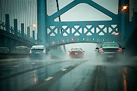 Ben Franklin Bridge in bad weather, Pennsylvania, USA