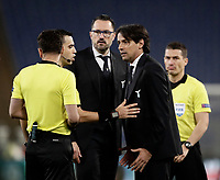 Europa League quarter-final 1st leg <br /> S.S. Lazio - FC Salzburg  Olympic Stadium Rome, April 5, 2018.<br /> Lazio's coach Simone Inzaghi (l) speaks with the referee Ovidiu Hategan (r) during the Europa League match between Lazio and Salzburg at Rome's Olympic stadium, April 5, 2018.<br /> UPDATE IMAGES PRESS/Isabella Bonotto