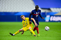 24th March 2021; Stade De France, Saint-Denis, Paris, France. FIFA World Cup 2022 qualification football; France versus Ukraine;  Ngolo Kante (France) gets th ebetter of Oleksandr Zinchenko (Ukraine)