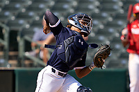 Catcher Harry Ford (1) throws down during the Baseball Factory All-Star Classic at Dr. Pepper Ballpark on October 4, 2020 in Frisco, Texas.  Harry Ford (1), a resident of Kennesaw, Georgia, attends North Cobb High School.  (Ken Murphy/Four Seam Images)
