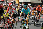 A bandaged Jakob Fuglsang (DEN) Astana Pro Team at the start of Stage 3 of the 2019 Tour de France running 215km from Binche, Belgium to Epernay, France. 8th July 2019.<br /> Picture: Colin Flockton | Cyclefile<br /> All photos usage must carry mandatory copyright credit (© Cyclefile | Colin Flockton)