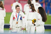 Alyssa Naeher #1 of the United States during the 2020 Tokyo Olympics Women's Soccer medal ceremony