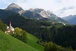 Italy, South Tyrol, Alto Adige, Dolomites, near San Vigilio di Marebbe, Pieve di Marebbe: pilgrimage church, background: Corte with subsidiary church, at Valle di Tamores, tributary valley of Val Badia