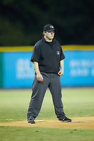 Umpire Chandler Durham handles the calls at third base during the game between the Johnson City Cardinals and the Burlington Royals at Burlington Athletic Stadium on September 4, 2019 in Burlington, North Carolina. The Cardinals defeated the Royals 8-6 to win the 2019 Appalachian League Championship. (Brian Westerholt/Four Seam Images)