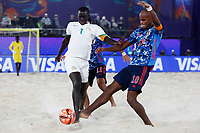 28th August 2021; Luzhniki Stadium, Moscow, Russia: FIFA World Cup Beach Football tournament; Semi final match Japan versus Senegal: Ozu Moreira from Japan competes with Babacar Fall from Senegal, during the match between Japan and Senegal