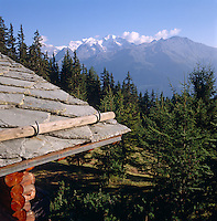 View past the slate roof of the chalet towards the snow-capped Alps beyond