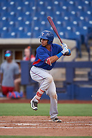 AZL Rangers Randy Florentino (1) at bat during an Arizona League game against the AZL Brewers Blue on July 11, 2019 at American Family Fields of Phoenix in Phoenix, Arizona. The AZL Rangers defeated the AZL Brewers Blue 5-2. (Zachary Lucy/Four Seam Images)
