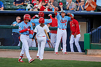 Peoria Chiefs Malcom Nunez (8) congratulates Wadye Ynfante (3) for hitting a home run during a Midwest League game against the Bowling Green Hot Rods at Dozer Park on May 5, 2019 in Peoria, Illinois. Peoria defeated Bowling Green 11-3. (Zachary Lucy/Four Seam Images)
