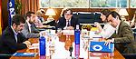 Miguel Angel Gutierrez of Ciudadanos, Yolanda Diaz of Unidos Podemos, Jose Enrique Serrano of Partido Socialista, Fernando Martinez Maillo of Partido Popular and Francisco Maruenda, director of La Razon during the debate on agreements with representatives of the four major political forces at the headquarters of the newspaper La Razon . 19,06,2016. (ALTERPHOTOS/Rodrigo Jimenez)