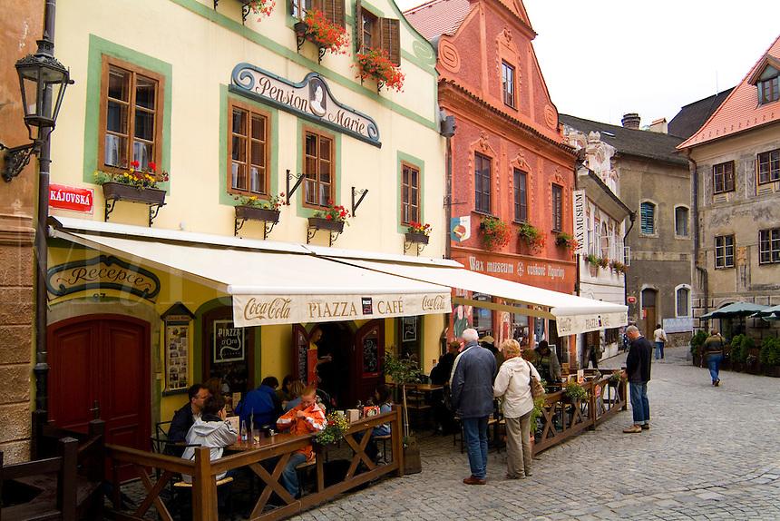 Town center square shops and architecture, Cesky Krumlov, Czech Republic