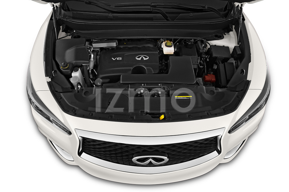 Car Stock 2020 Infiniti QX60 Pure 5 Door SUV Engine  high angle detail view
