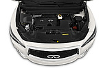 Car Stock 2020 Infiniti QX60 Pure 5 Door SUV Engine  high angle detail view