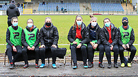 Substitute players of  Woluwe pictured before a female soccer game between FC Femina White Star Woluwe and Sporting Charleroi on the 10 th matchday of the 2020 - 2021 season of Belgian Scooore Womens Super League , Saturday 19 th of December 2020  in Woluwe , Belgium . PHOTO SPORTPIX.BE | SPP | SEVIL OKTEM