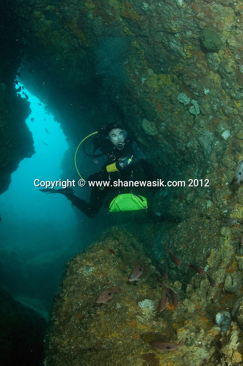 A diver swims through the keyhole from the outer reef at Astrolabe Reef.
