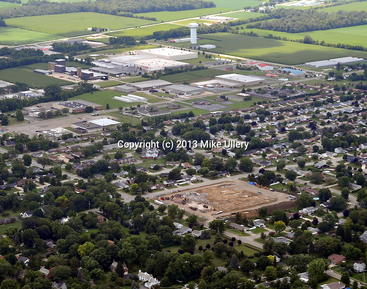Aerial photos of the Piqua area on August 3, 2013. Concentration on Miami Valley Centre Mall area, and Piqua Airport, along with downtown and area.