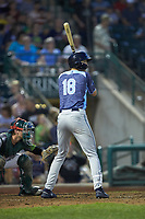 Parker Meadows (18) of the West Michigan Whitecaps at bat against the Fort Wayne TinCaps at Parkview Field on August 5, 2019 in Fort Wayne, Indiana. The TinCaps defeated the Whitecaps 9-3. (Brian Westerholt/Four Seam Images)